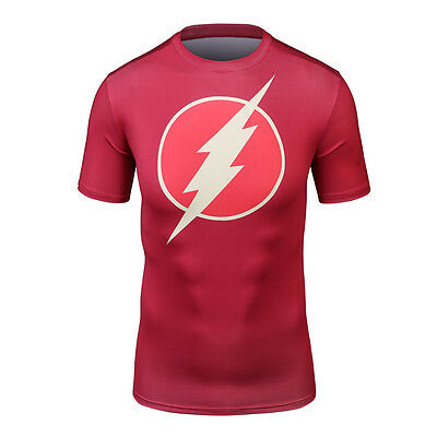 Superhero Flash style B Men Compression Shirt Top Short Sleeve For Tight Outdoor