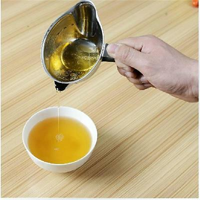 Stainless Steel Grease Trap Skim Oil Filter Pot Kitchen Divided Oiler Tool XU