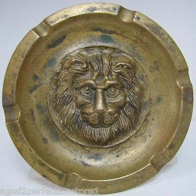 Antique Brass Figural Lions Head Tray Ashtray high relief face finely detailed