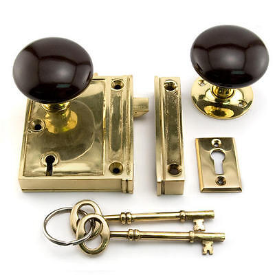 Vertical Brass Rim Lock Set with Brown Porcelain Knobs - Right Hand - Polished