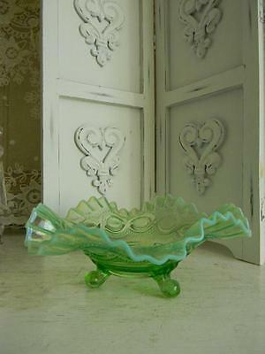 Beautiful Vintage Northwood Green Opalescent Depression Glass Footed Brides Bowl