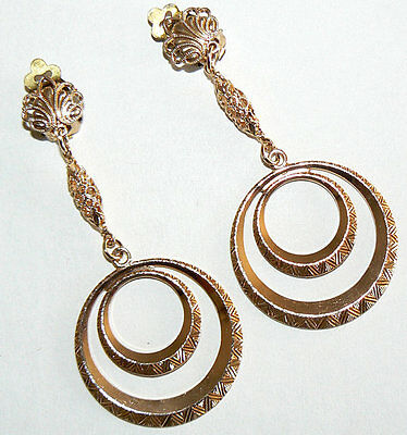 Filigree Vintage Earring From West Germany Light Weight Never Worn Gold Tone