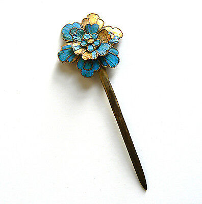 Qing Dynasty Kingfisher feather Hair Pin Antique Chinese 19th China Tian-tsui 點翠