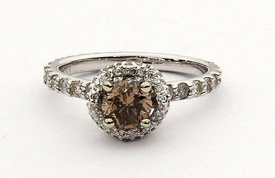 EGL CERTIFIED Fancy Brown Diamond18KT White Gold Ring Estate Vintage Value$2850*