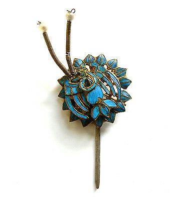 Qing Dynasty Kingfisher feather & Pearl Hair Pin Antique VINTAGE  19th Century