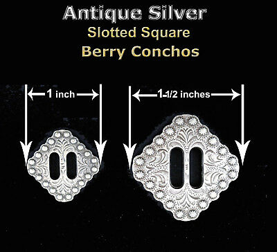 Conchos Lot Of 6 Pcs Rodeo Square Berry Antique Silver Slotted Bs 9154 (2) Sizes