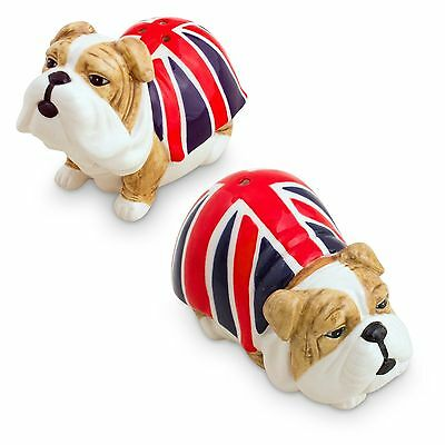 British Bulldog with Flag  Dog Ceramic Salt & Pepper Shakers - Boxed