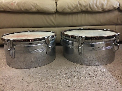 Vintage Rogers Timbales Chrome Over Brass - NO Mount