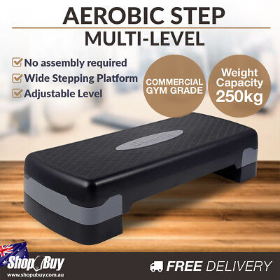 Aerobic Step Level Bench Gym Workout Cardio Fitness Exercise Stepper Black