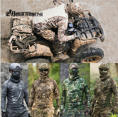 Tactical Long Sleeve Camouflage T-Shirt Combat Fast Quick Dry shirt M-XXL