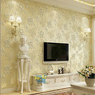 10m Retro 3D Floral Damask Textured Embossed Wallpaper Rolls Home Print Decals