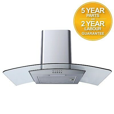 SIA CPL91SS 90cm Curved Glass Stainless Steel Chimney Cooker Hood Extractor Fan