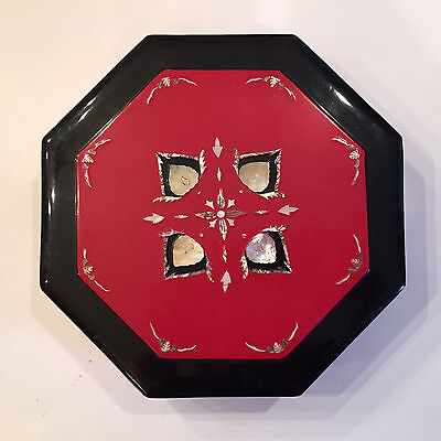 Vint Red Black Lacquer Japanese Wood Bento Box Inlaid Mother of Pearl Octagon