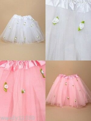 "Pack Of 3 Net Tutu / Tu-Tu With Fabric Roses 15-28"" Dance : Party : Fancy Dress"