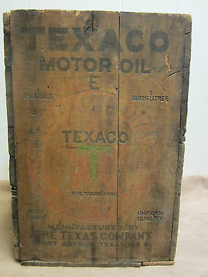 Old TEXACO Motor Oil Wooden Box Wood Crate 5 US Gal red green black High Grade