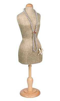 "(1) Modern Burlap Body Display Mannequin Miniature Body Form Showcase 22 5/16""h"