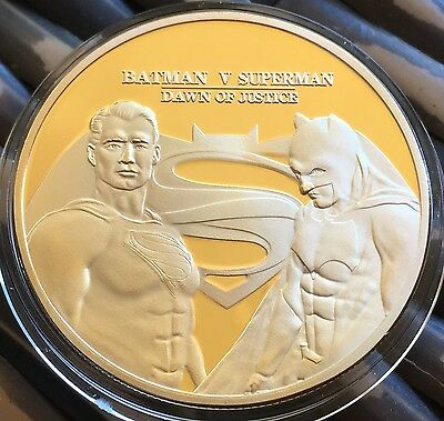 New 2016 Batman Vs Superman Collectable Coin Medallion Finished In 24k Gold .999