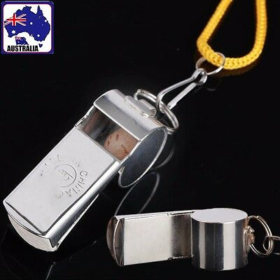2pcs Stainless Steel Judge Whistle Emergency Training Outdoor Soccer OWHIS4791x2