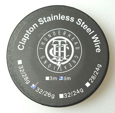 CLAPTON STAINLESS STEEL WIRE 26/32g Kanthal wrapped 15 Ft roll Competition Coil