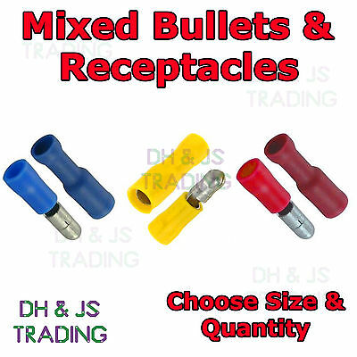 Insulated Bullet Terminals Receptacles Electrical Splice Crimp Wire Terminal Mix