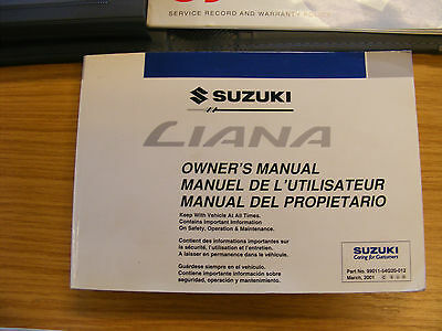 SUZUKI LIANA OWNERS MANUAL HANDBOOK WALLET / service book / radio book 2001 car