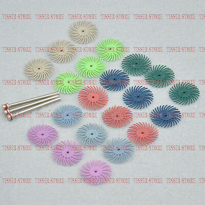 "RADIAL BRISTLE DISC BRUSH ASSORTMENT 21Pcs. SET 1"" Diameter 7-GRITS - 3pc each"