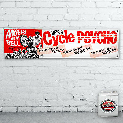 Cycle Psycho Banner  –  heavy duty for workshop, garage, man cave motorbike