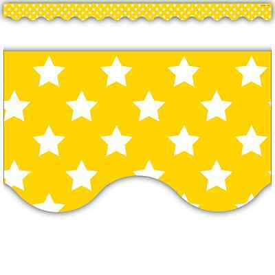 TCR Yellow with White Stars Scalloped BORDER Deco Trim