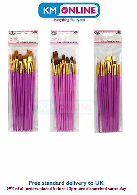 Royal Langnickel Pink Art Gold, Brown Taklon and White Bristle Brush Set of 10