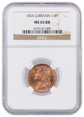 1825 Great Britain George IV 1/4P Copper Farthing NGC MS65 RB SKU39272