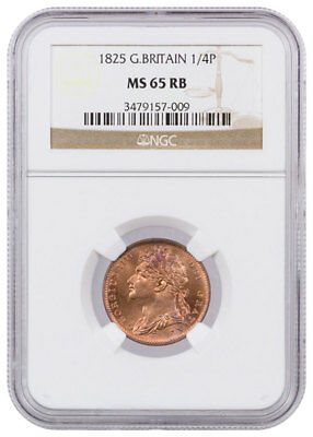 1825 Great Britian 1/4 P Farthing | NGC MS65 RB SKU39272
