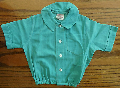 Vintage infant clothes Aertex baby shirt Cellular Clothing Company 1930s Green