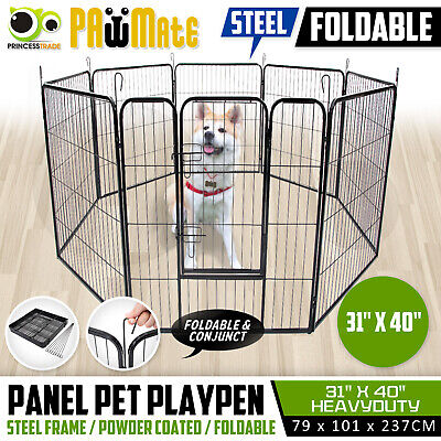 """40"""" x 31"""" 8 Panel Pet Playpen Portable Exercise Cage Fence Enclosure Dog Puppy"""