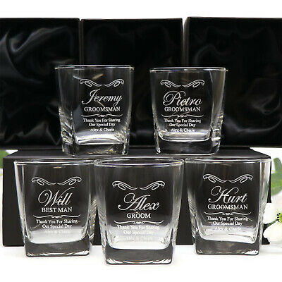 5x Engraved Whisky Scotch Glasses Personalised Wedding Groomsman Gift Bourbon