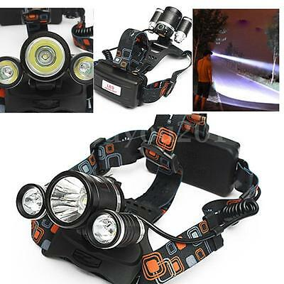 6000lm T6 + 2XPE Q5 LED Headlight lampe frontale 18650 USB pile