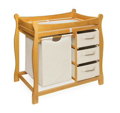 Honey Sleigh Style Changing Table with Hamper/3 Baskets