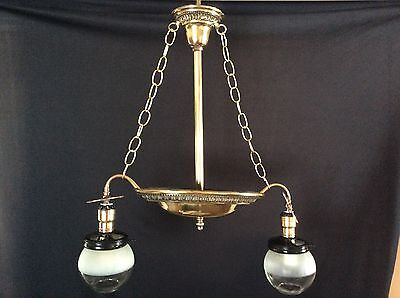 Antique Restored Brass Gas Hanging Light Chandelier Late 1800s Victorian