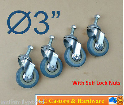 4pc 3'' 75mm Swivel Caster Castor Wheel Set Bolt Casters Castors With Nuts