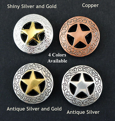 "Conchos Lot Of 6 Pcs Ranger Star Western Leather Bs 9240 3/4 ""  4 Colors New"