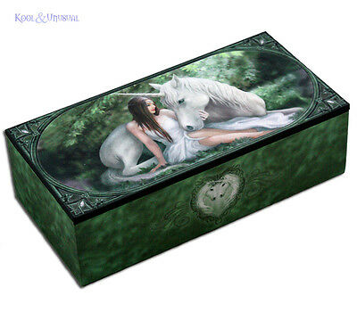 "Anne Stokes Trinket Jewellery Box with Mirror: ""Pure Heart"" Girl with Unicorn"