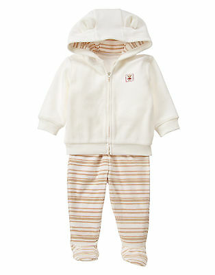 NWT Gymboree Bear Fleece Hoodie Footed Pants Outfit 0-3 Months Boy Girl Unisex
