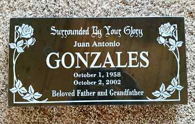 "Custom Memorial Headstone - 16""x8""x2"" Black Granite to Your Specs"