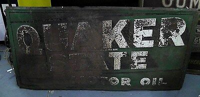 "Vintage 1950's Quaker State Motor Oil Metal Sign 72"" x 36"""