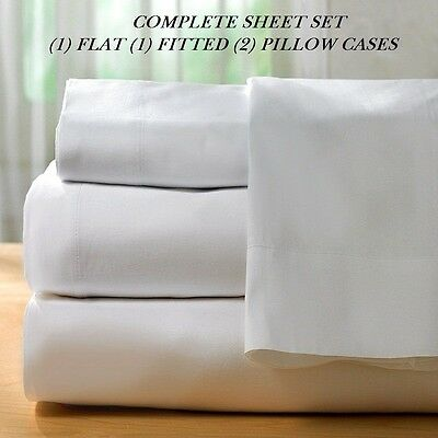 """1 TWIN SIZE WHITE """"new sheet set"""" T-200 PERCALE HOTEL FLAT FITTED 2 PILLOW CASE"""
