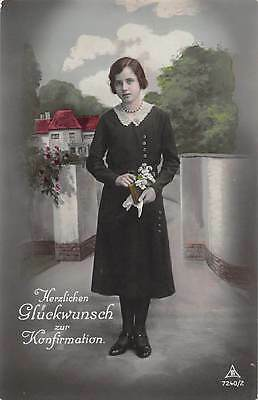 "Young German girl , RP  confirmation card, ""PH"", Gluckwunsch, 1920s   qq1333"