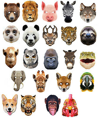 Animal 2D Card Party Face Masks Mask Zoo Farm lot World Book Day Fancy Dress