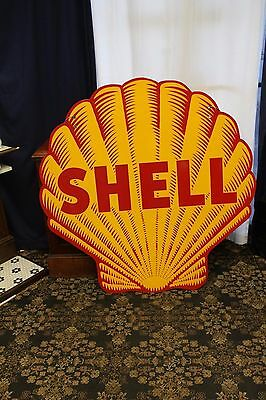 "1948-55 Original Shell ""Tiger Striped"" Double Sided Porcelain Advertising Sign"