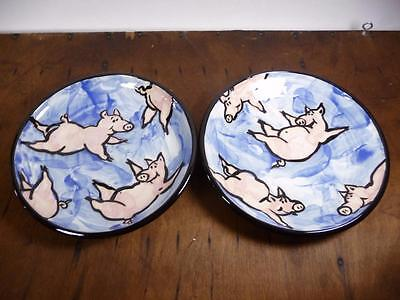 """Set of 2 Hand Painted 3D & Up 8"""" Pigs in the Sky Ceramic Plates Flying USA Made"""
