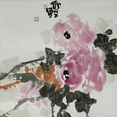 Rote Rosen – Aquarell von Huang Qiu Sheng  – National Master of Chinese Arts