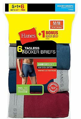 Hanes Men's TAGLESS Boxer Brief with Comfort Flex Waistband 6-Pack (Includes 1 F